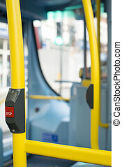 Bus Interior at public transport. Seats in a bus