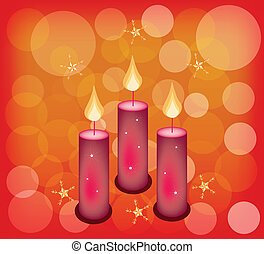 Three Candles on A Red Abstract Bac - Three Christmas...