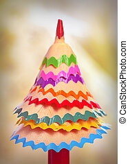 tree made of pencil shavings - tree made of colored pencil...