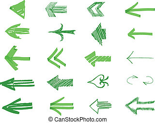 Drawn Arrows - arrows isolated on the white