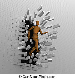 Puppet breaks bricks wall - 3D model of puppet escaped and...