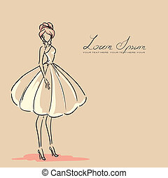 silhouette of female - Young woman in beautiful dress....