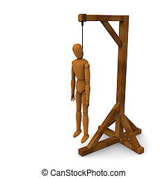 Puppet hanging - 3D model of puppet hung on wooden post