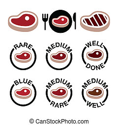 Steak - medium, rare, well done - Vector icons set of beaf...