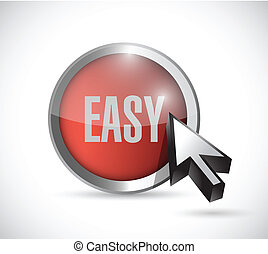 red easy button concept illustration design over a white...