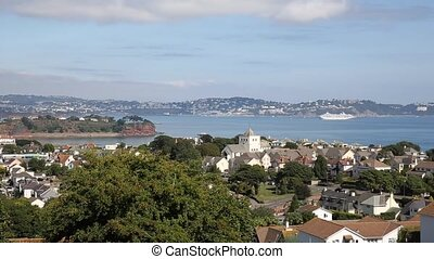 View of Torquay coast and bay Devon England UK from Paignton