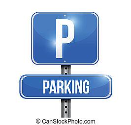 parking road sign illustration