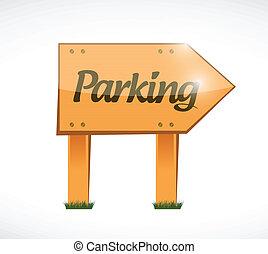 parking wood sign illustration