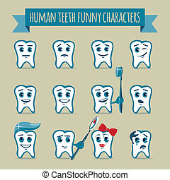 Set of human teeth funny characters - Vector icons set of...