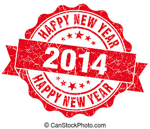 Happy new year 2014 grunge red stamp