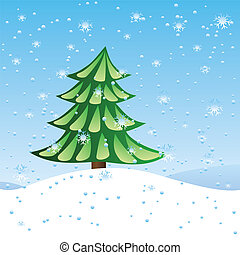 Green fir tree on slope - Winter holiday scene with green...