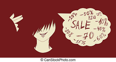 Sales madness - Emo kid with finger gun and sales prices...