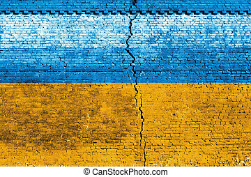 Ukraine Flag - Cracked brick wall as Ukraine flag, symbolize...
