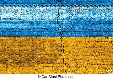 Ukraine Flag - Cracked brick wall as Ukraine flag, symbolize...