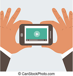 Businessman holding mobile phone with blank screen - Mobile...