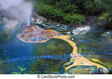 Hot spring crater - Colorful hot spring crater in Rotorua,...