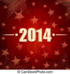 new year 2014 over red retro background with stars