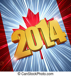 new year 2014 golden figures over shining Canadian flag