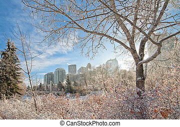 Calgary City in Winter - The city of Calgary framed by a...