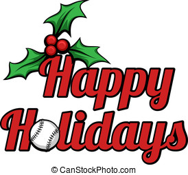 Baseball Happy Holidays Stacked - Vector illustration Happy...