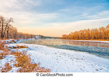 Winter at the Bow River - Landscape of the Bow River with...