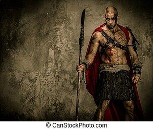Ferido, gladiador, vermelho, agasalho, segurando,...