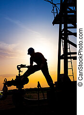Oil worker check oil pump