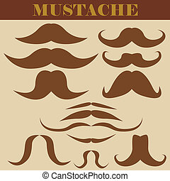 Set of mustaches (vector illustration)