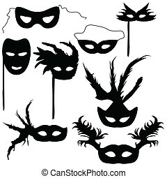 Collection of silhouettes carnival masks vector illustration...