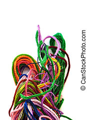 colorful tangled threads - Colorful tangled yarn threads on...