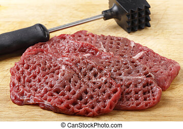 Tenderized raw minute steaks - Three raw minute steaks...