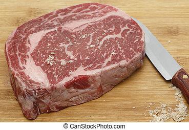 condimento, wagyu, carne de vaca, sal