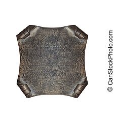 Metal banner - Metal plate in the form of manuscript...