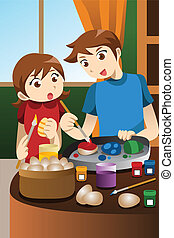 Kids painting Easter eggs - A vector illustration of kids...