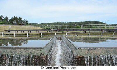 waste water filtration - sewage waste water treatment plant...
