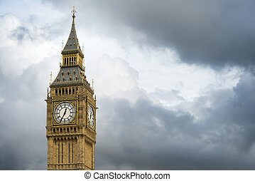 Big Ben London. Dramatic cloudy sky background