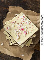 Homemade Christmas Peppermint Bark Dessert with White...