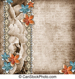 Vintage beautiful background with lace and paper flower...