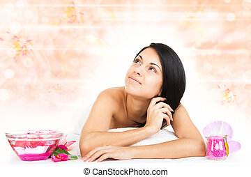 woman massage - woman spa massage body health care over...