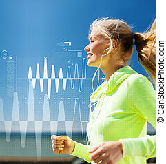 smiling woman doing running outdoors - sport, fitness,...
