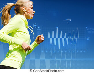 woman doing running outdoors - sport, training, technology,...
