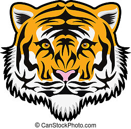 vector  tiger face - vector stylized tiger face