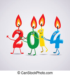 vector new year 2014 card with funny burning candles
