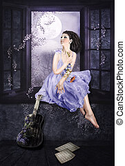 Lilac dreams - The young girl sitting on a windowsill and...
