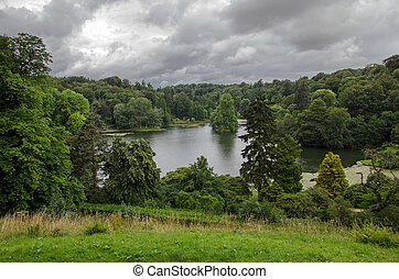 Stourhead lake, Wiltshire, England - Stourhead lake,...