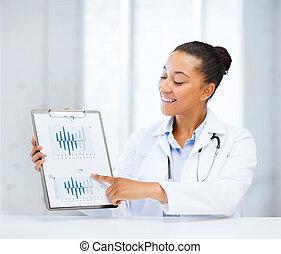 doctor pointing to cardiogram - healthcare and medicine...
