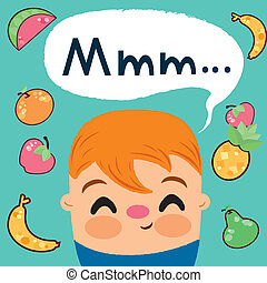 child who loves to eat fruits - It is an illustration Eps...