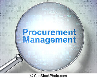 Finance concept: Procurement Management with optical glass -...
