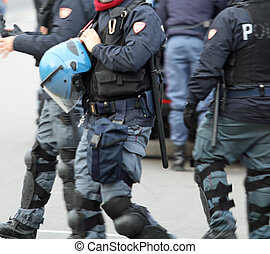 Police in to quell the riot city uprising of protesters -...