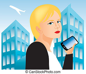 women with cell phone 3 - It is an illustration Eps file